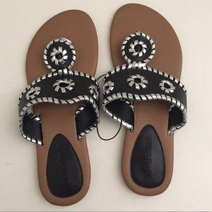 Olivia Miller Size 7 Sandals Flats Black Silver